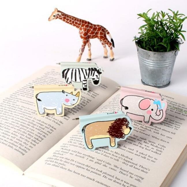 Hot selling new arrival fashion cute African Animal series Mini Magnetic Bookmark With mini pen.office school student tool schoo