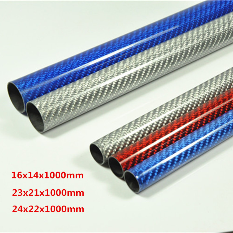 2pcs 16x14mm 23x21mm 24x22mm Length 1000mm Color Carbon Fiber Tube 3K Glossy Surface Silver Blue Red the wallflower 22 23 24