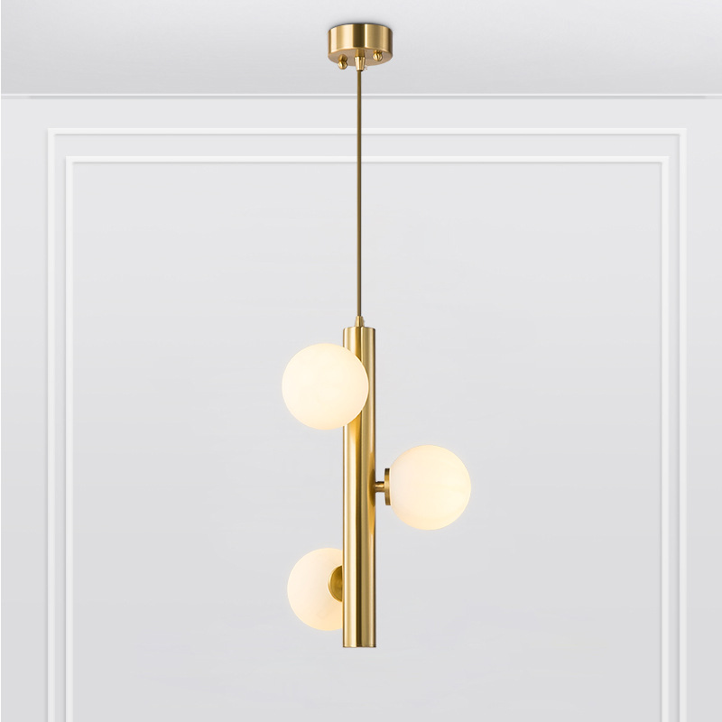 Modern Gold Black Frosted Glass Ball Pendant Lamp Minimalist Creative Personality Magic Bean Retro Pendant Lights