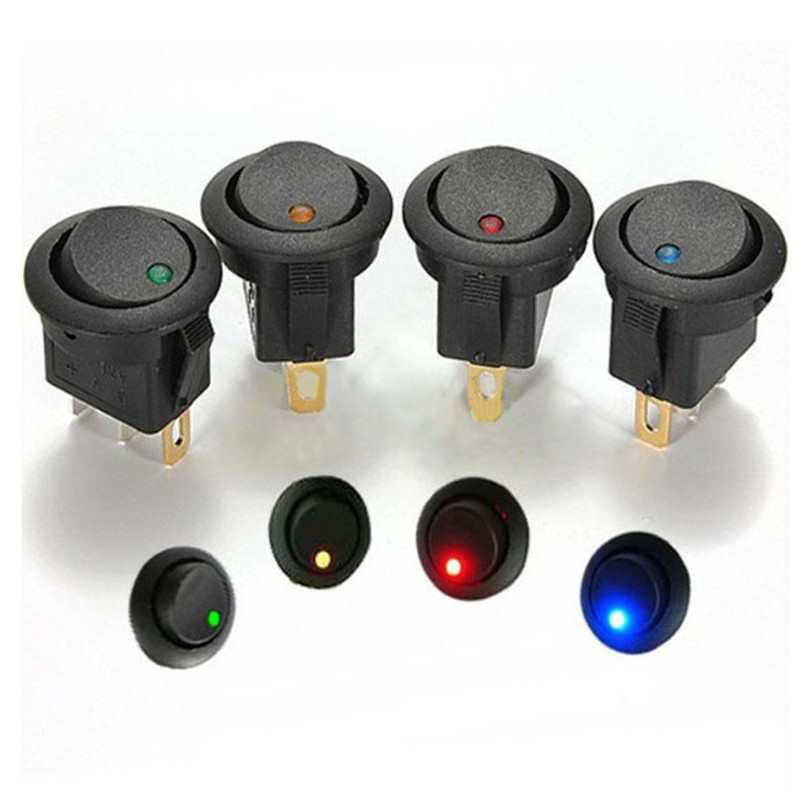 Universal 5pcs 16A 12V LED Dot Light Car Boat Round Rocker ON/OFF SPST Switch