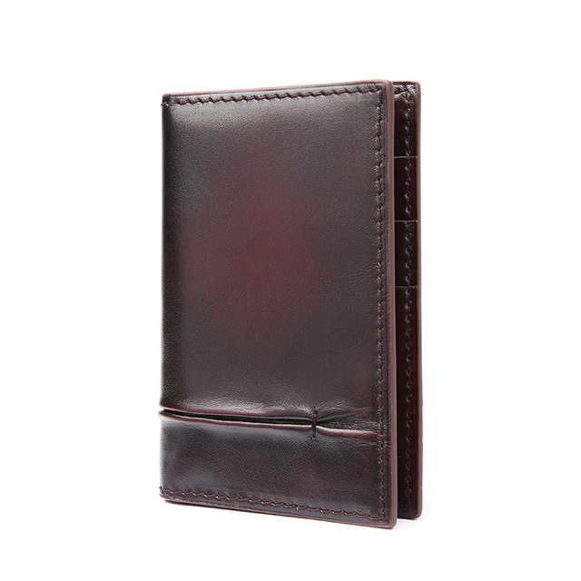 TERSE_High quality handmade genuine leather card holder men business luxury engraving service card wallet factory to customer