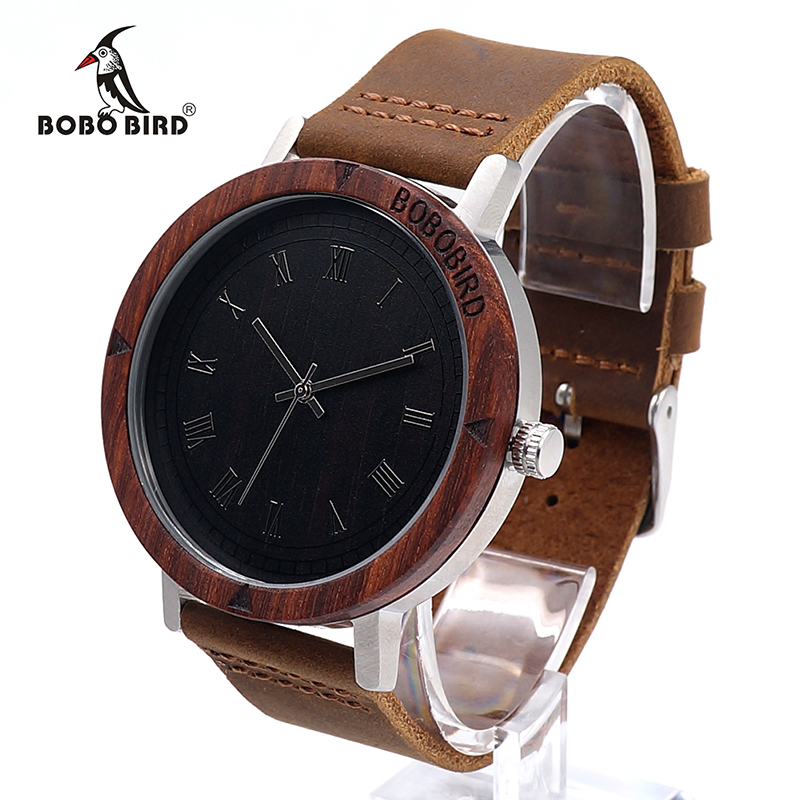 BOBO BIRD K06 2017 Fashion Roma Dial With Rose Wooden Unique Quartz Watch For Men Dress