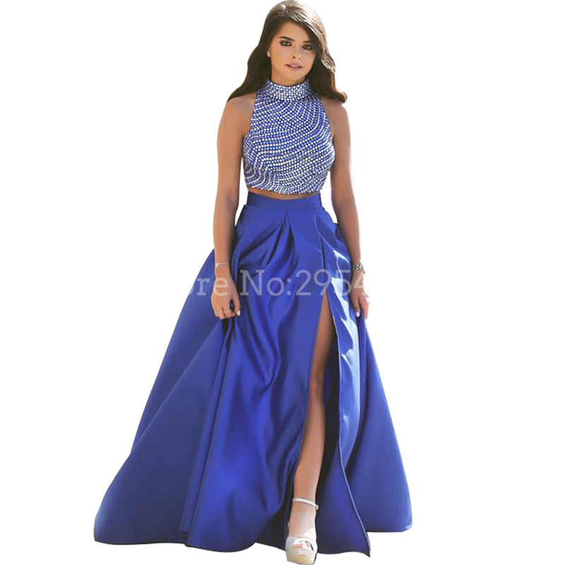 Blue Two Piece Prom Dress High Neck Slit Beading 8th Grade Prom Dresses 2 Piece Formal  Evening Dresses Long