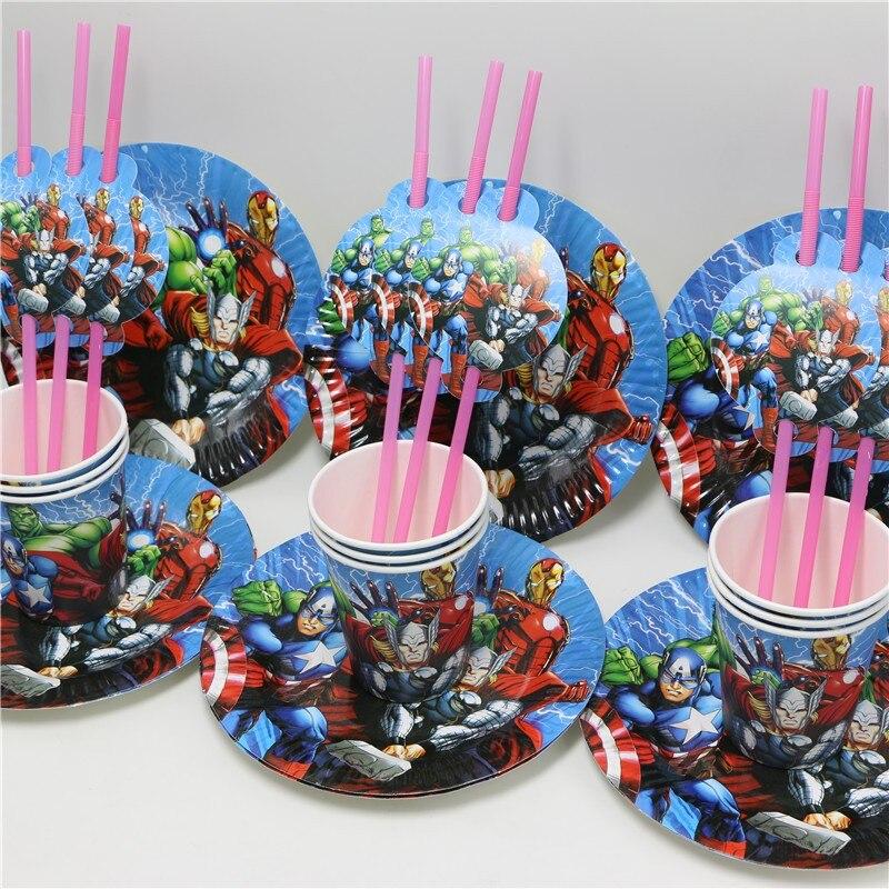 avengers supplies cartoon baby shower kids favors straws 36pcs lot