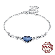925 Sterling Silver Link Love Heart Charm Bracelet LEKANI Crystals From Swarovski  Women Jewelry Accessories Dropship 1062966d0642