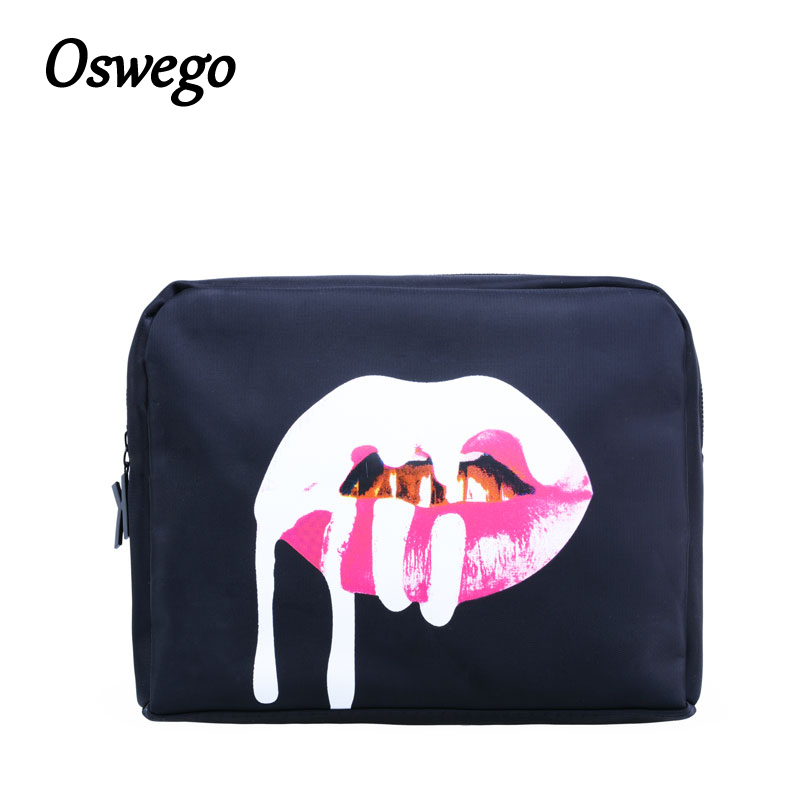 Oswego Makup Bag Kylie Jenner Lip Zipper Bag Waterproof Storage Pouch Portable Women Travel Cosmetic Cases Bags for Women 2018 fashion portable cartoon cat thermal cooler insulated waterproof lunch carry storage picnic bag pouch lunch bag for women kids
