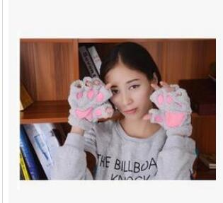 1pair /lot free shipping Winter Lovely Women Bear Cat Claw Paw Plush Gloves Short Finger Half Gloves Ladies Half gloves
