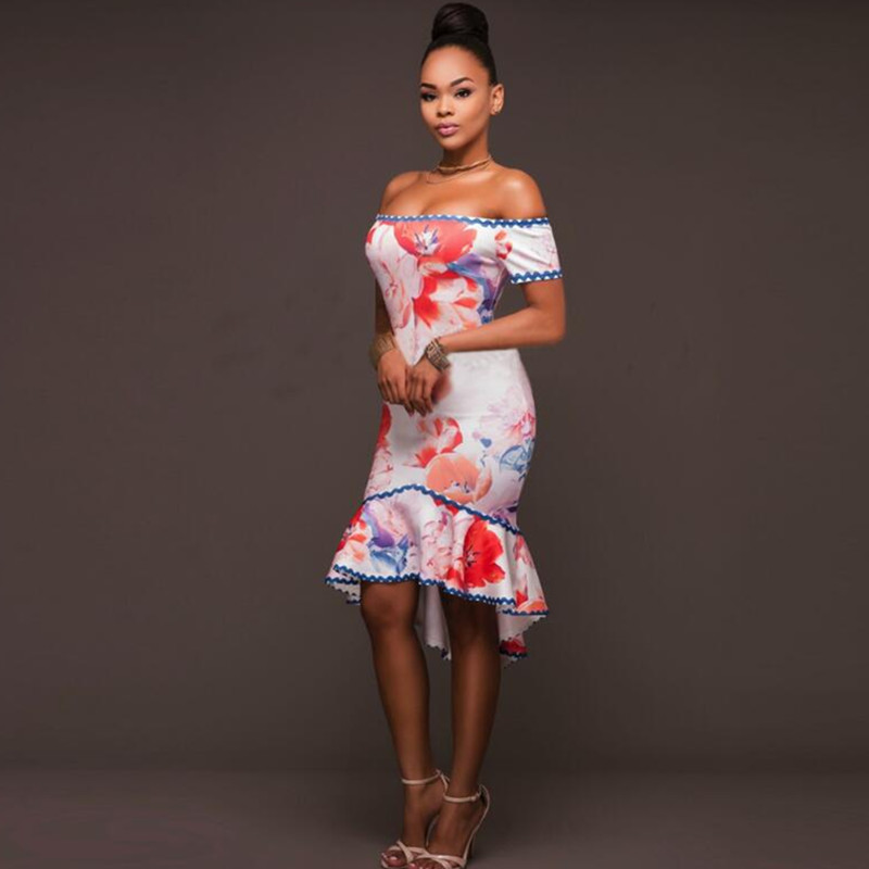 0e94166b828a 2017 Summer New Women Short Sleeve Slash Neck Off Shoulder Skinny Tight  Floral Print African Ethnic High Low Dress-in Dresses from Women s Clothing  on ...