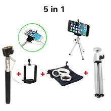 Universal 5in1 min Tripod Wired Selfie Stick with 2in1 Lens 0.67x Wide Angle Marco Lens For IPhone 5 5s 6 Plus For Smartphone