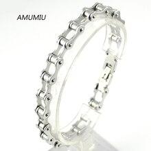 AMUMIU Punk 316L Stainless Steel Bracelet Men Biker Bicycle Motorcycle Chain Men's Bracelets Mens Bracelets & Bangles HZB017