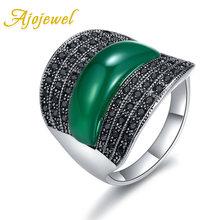 Женское кольцо с зеленым/черным/красным камнем
