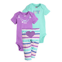 2017 New Baby Clothing Cotton Bodysuits Pants 3 Pc Baby Sets Baby Girl Clothes Baby Jumpsuit