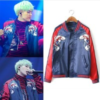 Kpop Bangtan Boys SUGA embroidery loose zipper baseball hoodies women clothes exo korean hip hop streetwear Harajuku sweatshirt