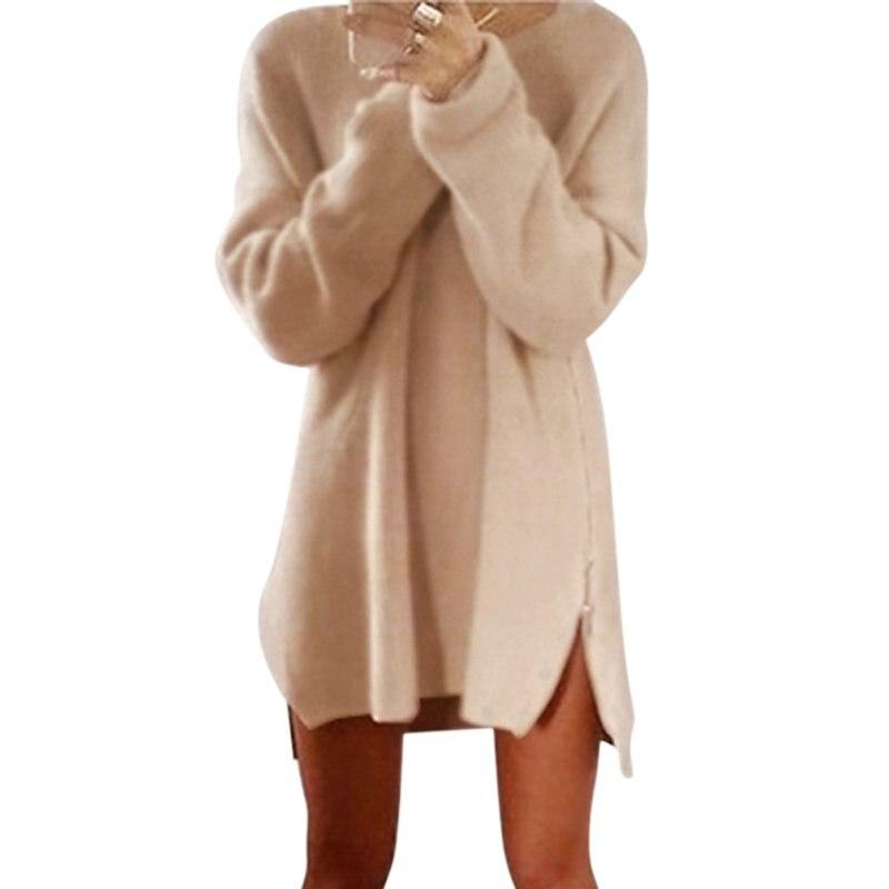Winter Women Long Sleeve Zippers Side Jumper Tops Knitted Sweater Loose Split Sweater Tunic Mini Dresses