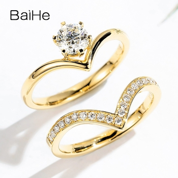 BAIHE Solid 14K Yellow Gold(One Set)  0.67CT Certified Round 100% Genuine Natural Diamonds Women Trendy Fine Jewelry unique Ring 2