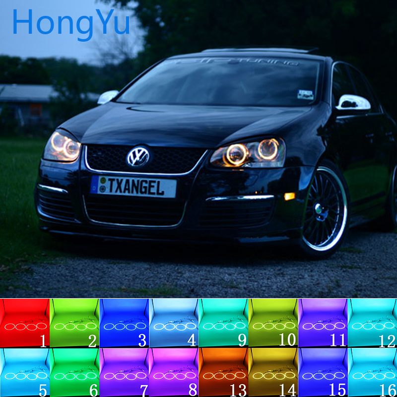 Multi color RGB LED Angel Eyes Halo Ring Eye DRL RF Remote for VOLKSWAGEN VW golf 5 Rabbit Jetta R32 V mk5 2004 2009 Accessories