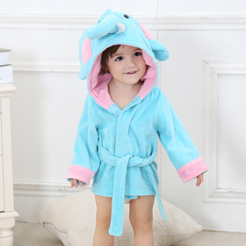 6 стилей; детский банный халат с ворсом и шапкой; Банное полотенце с капюшоном для малышей; модельные пижамы с животными - Цвет: elephant