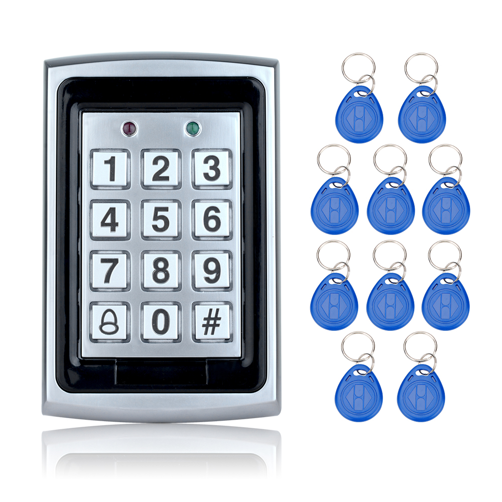 Free shipping 125KHz Waterproof  RFID Access Control Metal keypad+10 Key Fobs for Door security System Electric digital locks diysecur 50pcs lot 125khz rfid card key fobs door key for access control system rfid reader use red
