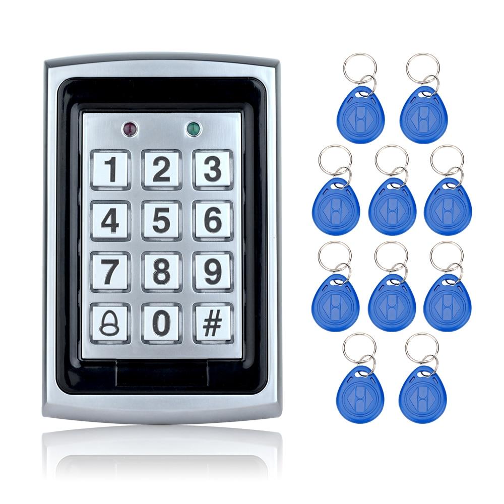 Livraison gratuite 125 KHz Étanche RFID de Contrôle D'accès En Métal clavier + 10 Porte-clés pour le Système De sécurité de Porte Électrique numérique serrures