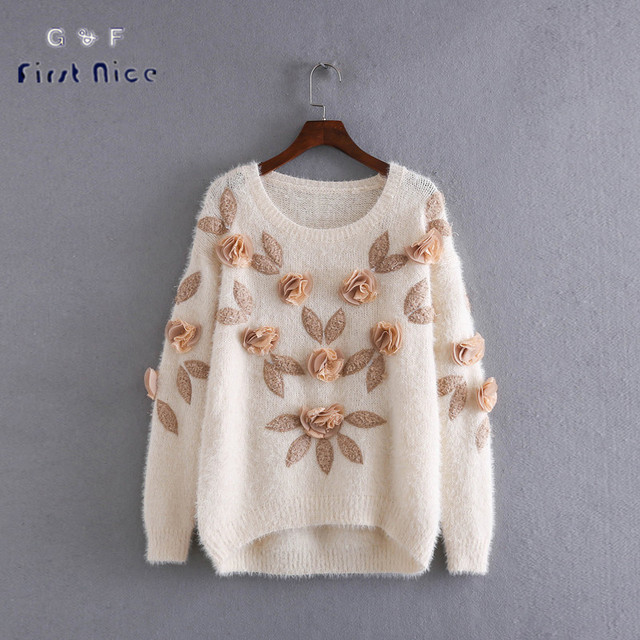 Autumn Winter Women Sweater 2016 New Mohair Stereoscopic Flower Leaf Embroidery Pullovers Knitted Casual Loose Ladies Tops