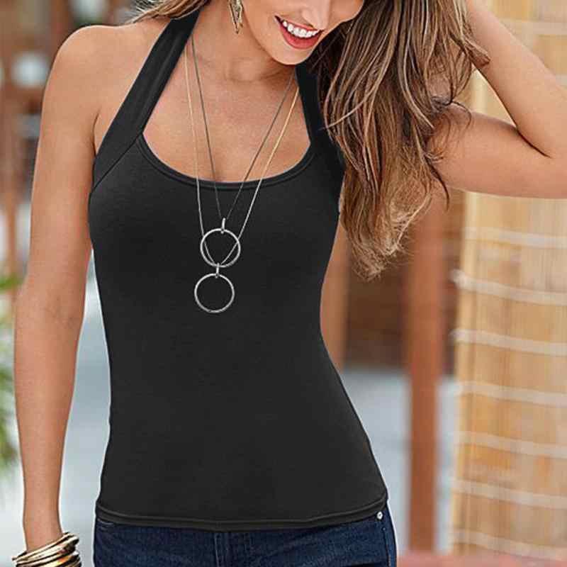 7b52f22e7284 2018 Summer Sexy Low-cut Basic T-shirts Tank Top Solid Cotton Self-