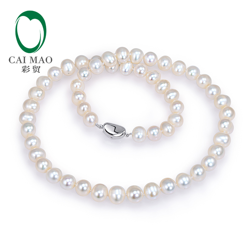 Free shipping 18 inches Natural Freshwater Pearls Sterling Silver 925 Necklace цена и фото