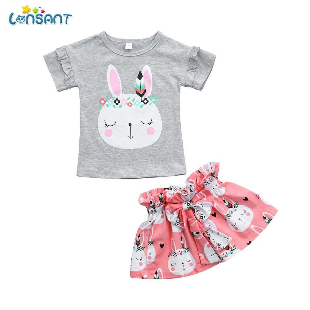 0ca4504230 Detail Feedback Questions about LONSANT New Arrival Summer Toddler Kids  Baby Girls Gray Cartoon Rabbit Tops Short Sleeve T Shirt Bowknot Skirt  Outfits Set ...