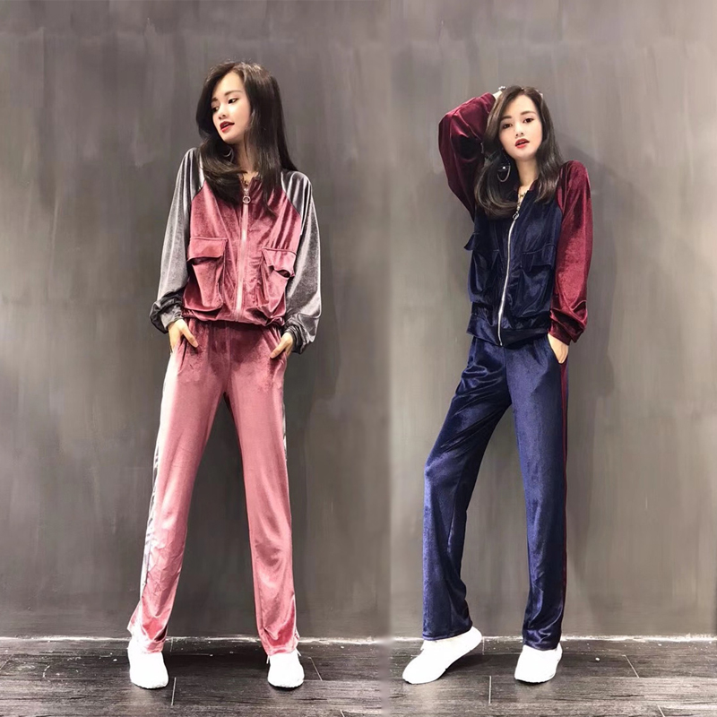 Sports suit spring and autumn casual women's blue suit velvet suit side stripe double pocket zipper jacket and elastic trousers Price $55.95