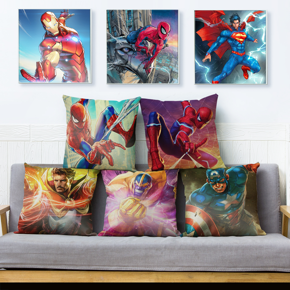 Cartoon Marvel Cushion Cover Superman Spider Man Iron Man Pillow Case Decor America Anime  Avenger Pillowcase For  Sofa