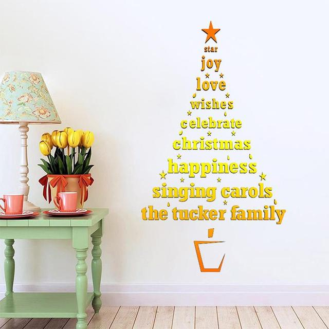golden christmas tree wall stickers best wishes christmas wall decor waterproof