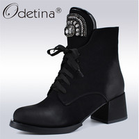 Odetina New Fashion Brand Lace Up Ankle Boots Women Chunky Heel Rhinestone Crystal Russia Boots Side Zipper Autumn Winter Shoes