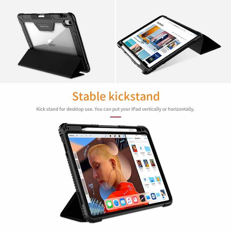 For iPad Pro 11 12 9 Case, Nillkin Shockproof TPU Bumper + Hard PC Leather  Flip Cover for iPad 9 7 2017 2018 with Stand Function