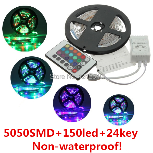 Free Shipping 5050SMD Non-waterproof 12V <font><b>Led</b></font> Light 30LEDs/M Only RGB/ Changeable Color with 24Keys Controller