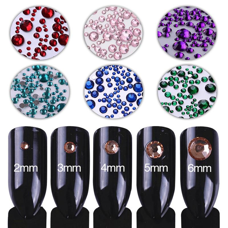 1000Pcs/bag  3D Nail Rhinestone Mix Sizes Nail Art Decoration AB Colors Flat Bottom Nail Decorations for Nails Manicure