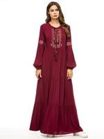 Bohemian Mexican Abaya Women Elegant Dress Casual Long Sleeves Tassel Embroidery Muslim Maxi Dress