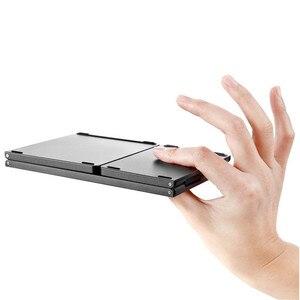 Image 3 - Mini Tragbare Zweimal Folding Bluetooth Tastatur BT Drahtlose Faltbare Touchpad Tastatur für IOS/Android/Windows ipad Tablet
