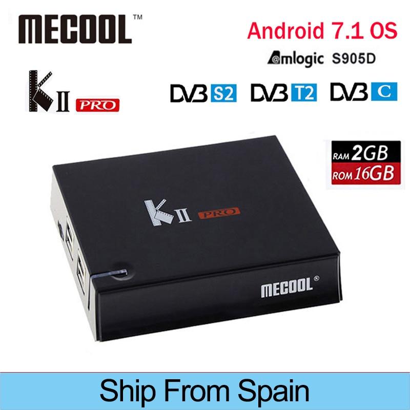 MECOOL KII Pro IPTV Android 7.1 Tv Box DVB-T2 DVB T2 + S2 Amlogic S905D Quad-core HD Set Top Box pk mecool m8s pro bb2 pro etc