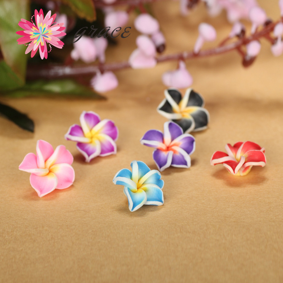 100pcs/lot 15mm Polymer Clay Fimo Miniature Frangipani Plumeria Flower Beads Supply Diy Earring Bracelet Making Hair Accessories