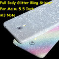 "Para meizu m3 note note3 5.5 ""cor folha de bling do diamante de luxo de corpo inteiro decalque etiqueta case glitter capa filme protetor de tela"