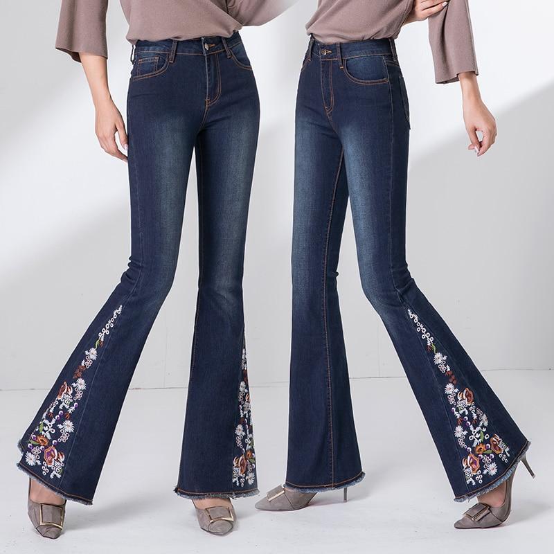 Para Blanqueado Blue Jeans Primavera Bordado Stretch Otoño Borla Elástico Mujer De Flare Pantalones black Vintage Denim Elástico wxfFEEPqZ