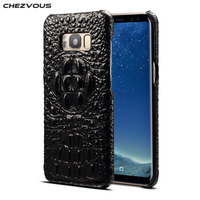 CHEZVOUS Luxury Case for Samsung Galaxy Note 8 Case Crocodile Pattern 3D Back Cover Genuine Leather Back Phone Cover Fitted Case