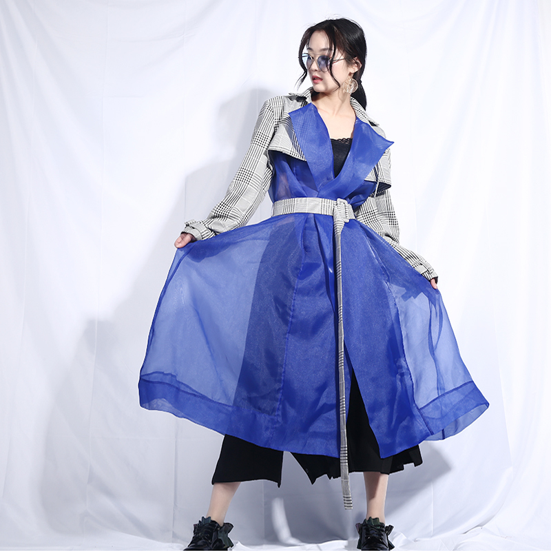 LANMREM 2019 Spring New Perspective Organza Patchwork Contrast Color Women's Windbreaker Personality Design Trench Fashion JL547