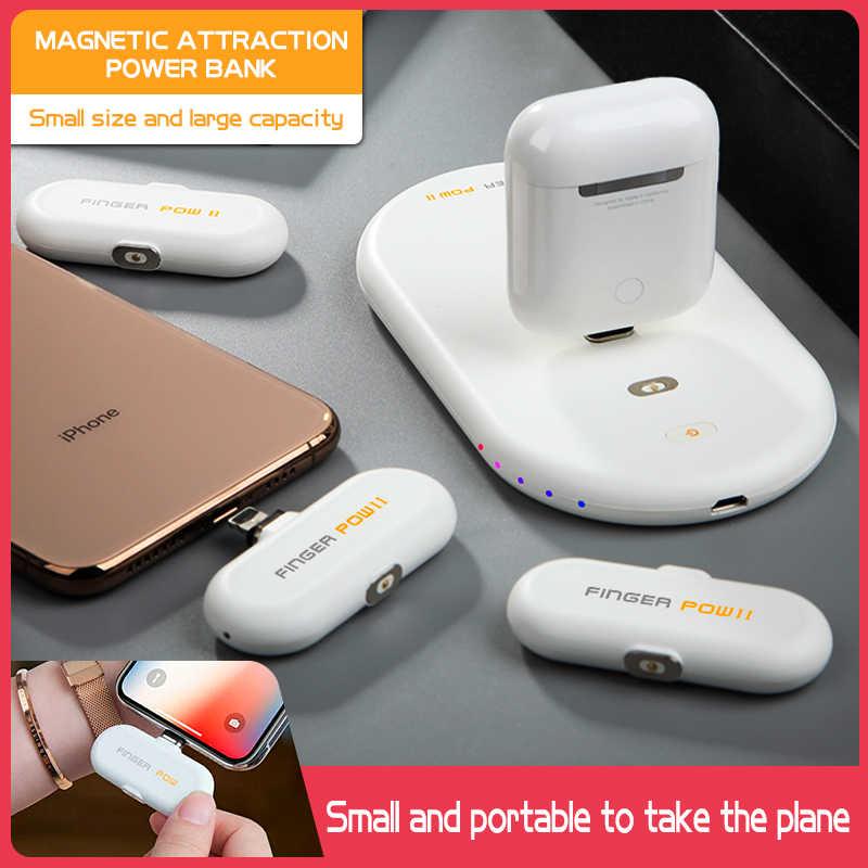 1100 mAh قوة البنك ل فون/المصغّر USB/نوع C المغناطيسي USB كابل بيانات سريع شحن الاصبع الأسرى مصغرة تجدد Powerbank بطارية خارجية