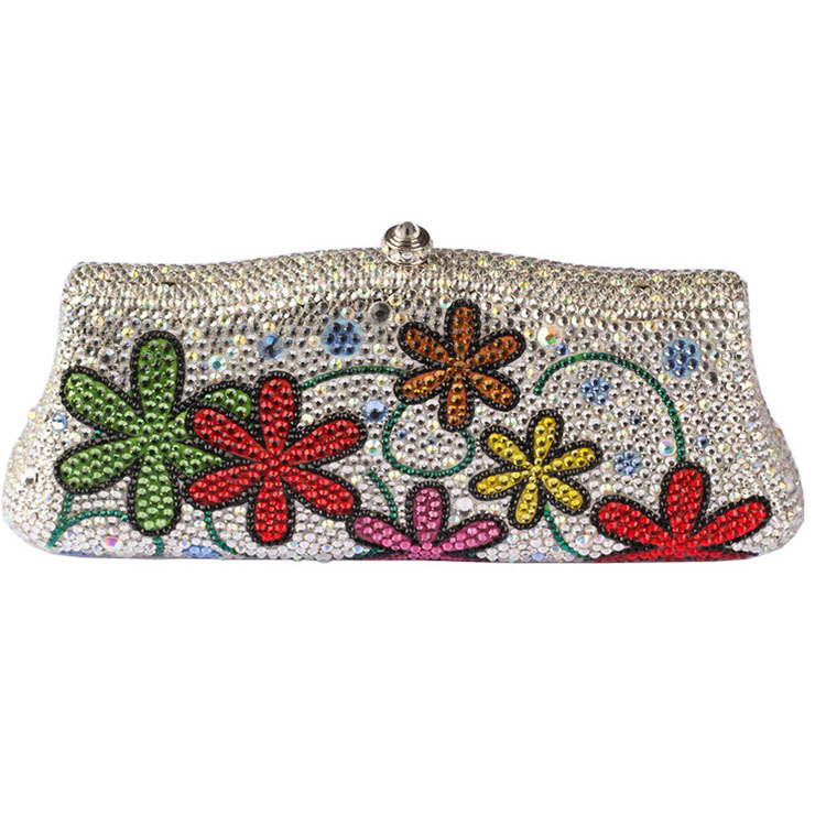 b915e532e6 2016 New Arrival Box Clutch Women Bags with Silver Shoulder Chain Flower  Rhinestone Crystal Crystal Evening