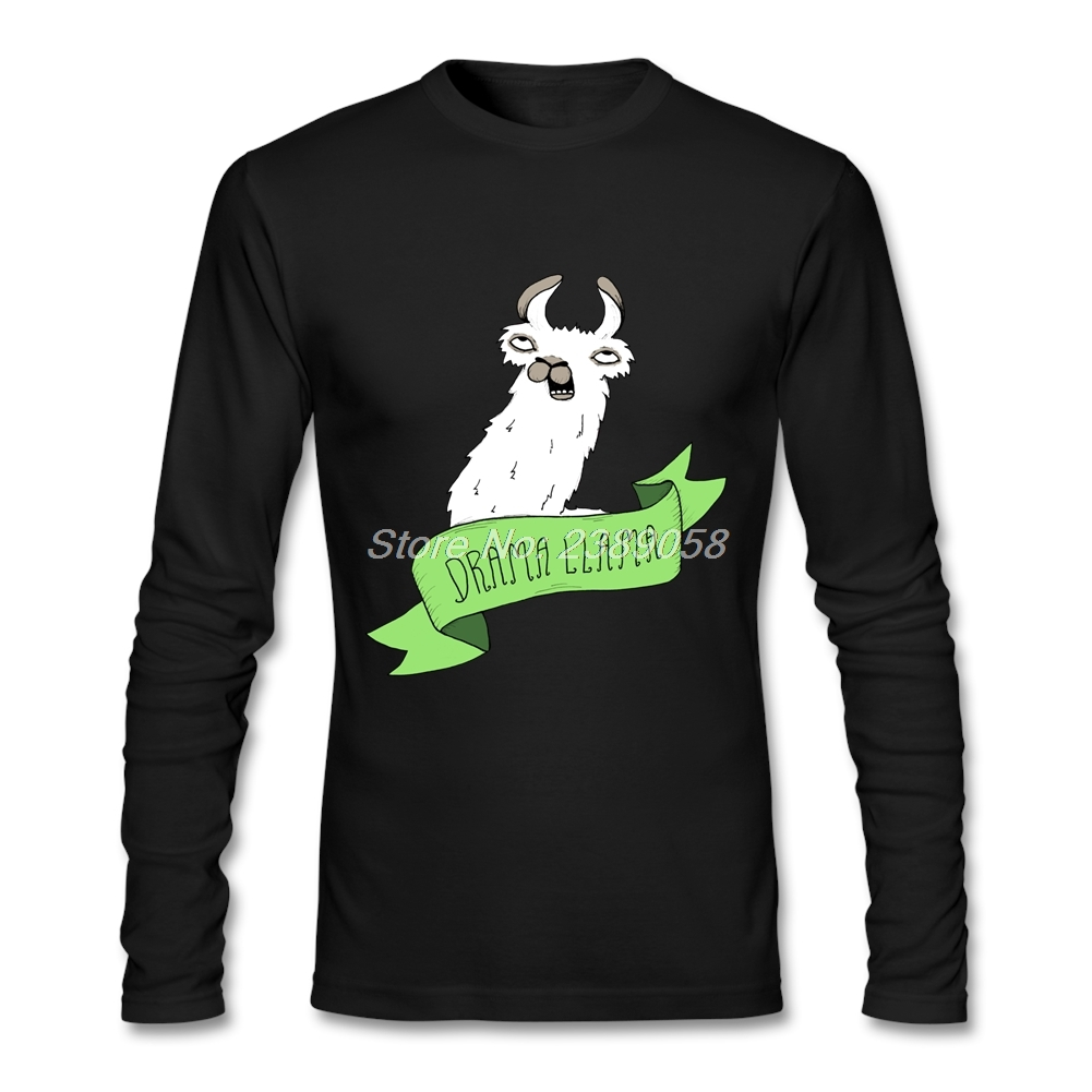 Hot Sale Mens Funny t shirts Drama Llama Best Graphic Funny Cartoon Tees Camisetas Full Sleeve Male T-Shirts