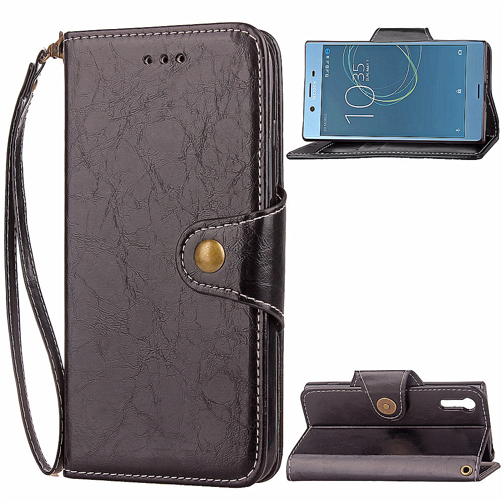 XZ Case for SONY Xperia XZ Business Oil Wax Leather Flip Cases Card Slot Stand Wallet black Cover 8332 F8332 SONY8332