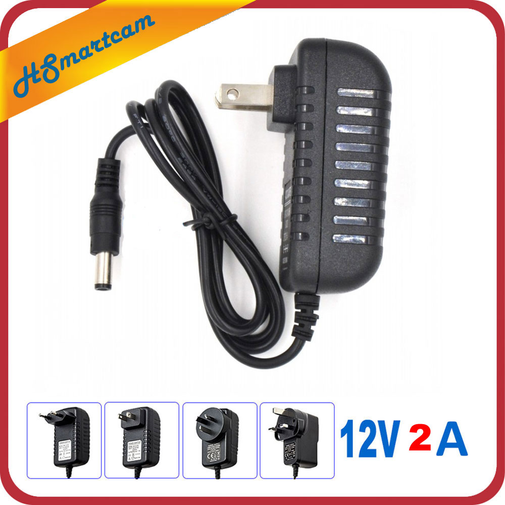 AC 110-240V To DC 12V 2A Power Supply Adapter For CCTV HD Security Camera Bullet IP/CVI/TVI/AHD/SDI/ Cameras EU/US/UK/AU Plug dc 12v 5a ac adapter cctv power supply adapter box 1 to 8 port for the cctv surveillance camera system abs plastic