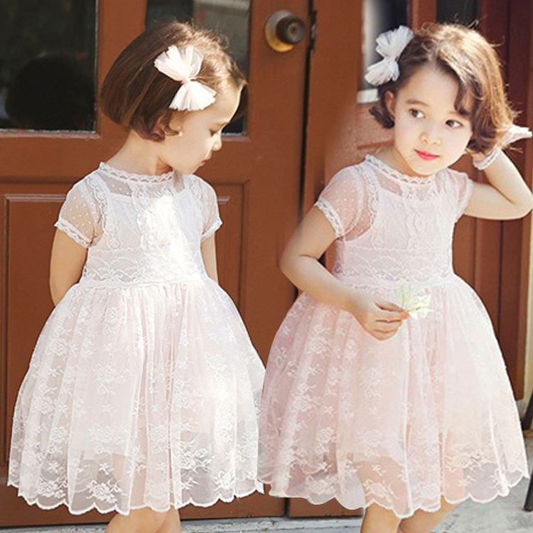 2018 Summer New Arrival Girl's Short Sleeve Lace Children Clothing O-neck Solid Embellished Floral Lace Lolita Style Kids Dress