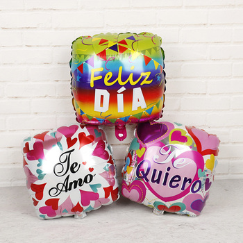 1PC 18inch Spanish Feliz dia helium foil balloons Mother wedding birthday party decorations square Shape Love Globos Mama Balaos image