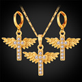 Cross Necklace Earrings Set For Women Fashion Jewelry Gold Plated Angel Wing Rhinestone Bridal Jewelry Sets PE1106